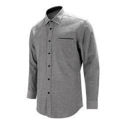 포켓 포인트 피치 기모 그레이 레귤러 긴팔 셔츠S8118