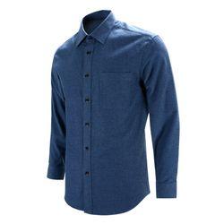 웜 피치 기모 블루 레귤러 긴팔 셔츠S8119