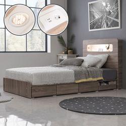 뮤즈 LED 콘센트 수납 침대(SS)