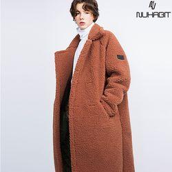뉴해빗 - 뽀글이 양털 테디베어 롱 코트(안감누빔) - 3color