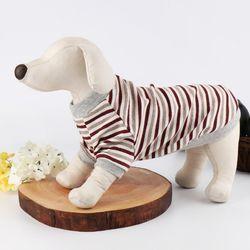 (국내산) 강아지옷 - 티셔츠 (브라운 스트라이프)