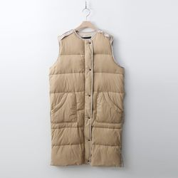 Beige Down Long Vest
