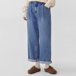pintuck mannish denim pants (s m)