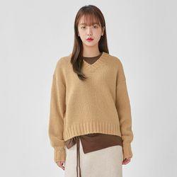 palm v-neck alpaca knit