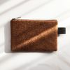fabric simple zipped wallet brown felt touch