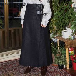 buckle wrap long skirt (2 color)
