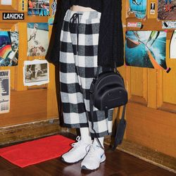 buffalo check wide crop pants (2 color) - UNISEX