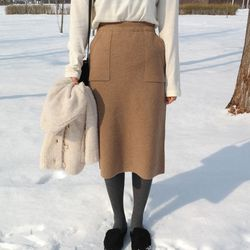 Macaron knit skirt(램스울70)