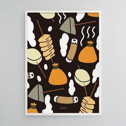 유니크 일본 인테리어 디자인 포스터 M 오뎅 어묵 A3(중형)