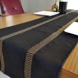 골드 그릭키 블랙 테이블러너 30x210cm