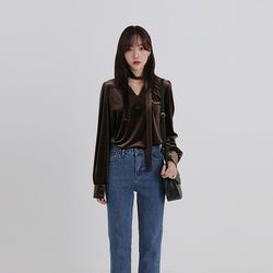 velvet free tie blouse (2colors)