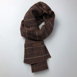 Monica check scarf (Dark brown)