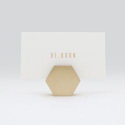황동 골드 명함꽂이 메모홀더 - 육각형