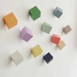 큐브 원목 컬러 벽후크