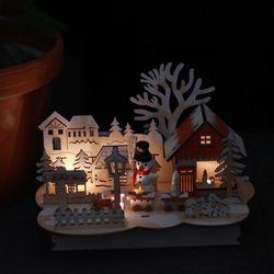 LED우드장식-눈사람과 집
