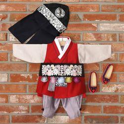 [한설한복]H.5569 와인빛 배자 남자아기한복