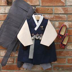[한설한복]H.5573 로얄네이비 클래식 쾌자 주니어한복