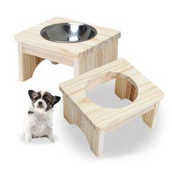 강아지 식탁 - 식기 1구세트 (원목)