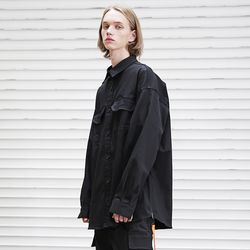 매스노운 앰플 오버핏 사이드지퍼 셔츠 MFEST001-BK