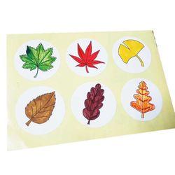 낙엽 원형스티커(5매)