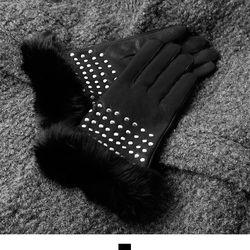 양가죽 토끼털 찡장식 여자장갑