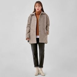 white drop shoulder wool half coat