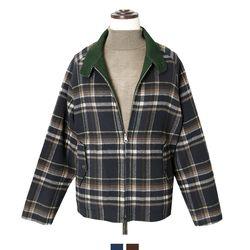 오버핏 체크 핸드메이드 양면 자켓