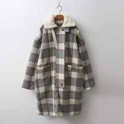 Wool Check Coat - 누빔안감