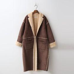 Wool Hoodie Mustang Long Coat - 양면