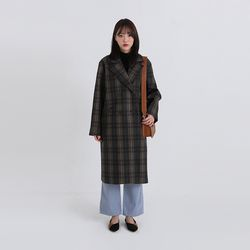 wool check double coat (2colors)