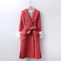 Alpaca Wool Sailor Collar Long Coat - 렉스퍼