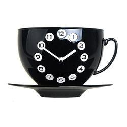 커피잔벽시계 블랙