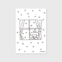 엽서 winter dog
