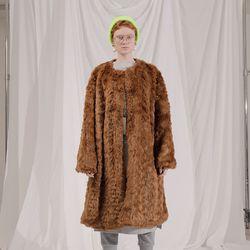 Collarless fur Coat BR