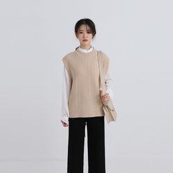 back strap point knit vest (4colors)