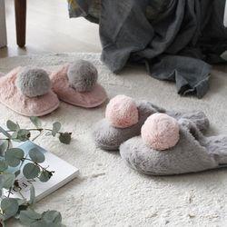 털방울 실내화 슬리퍼 사이즈랜덤 (2color)