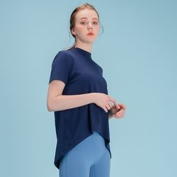 DURAN 에이라인 반목폴라 반팔 티셔츠 DFW5017 네이비