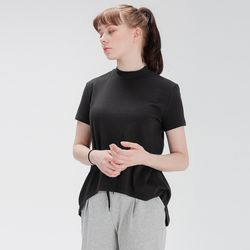 DURAN 에이라인 반목폴라 반팔 티셔츠 DFW5017 블랙