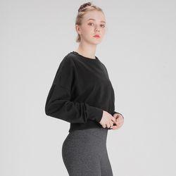 DURAN 여성운동복 스웨트 크롭 맨투맨 DFW5016 블랙