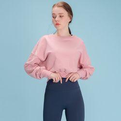 DURAN 여성운동복 스웨트 크롭 맨투맨 DFW5016 핑크