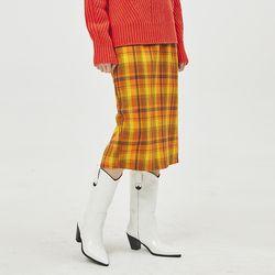 check banding midi skirt
