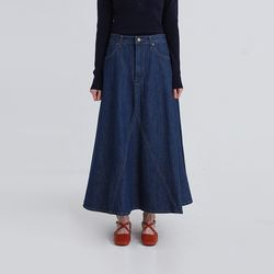 blue flare maxi denim skirt