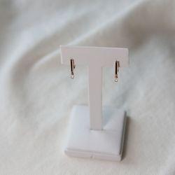 14k 모던 사각 큐빅 원터치 귀걸이
