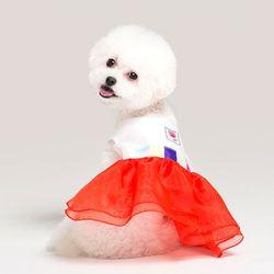 메종드독 강아지옷 칼라풀 레드 원피스 애견한복