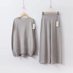 [세트] Hoega Round Knit + Wide Pants
