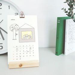 2019년 일러스트 달력 캘린더 탁상용 [엔틱집게+나무받침대]