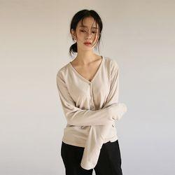 v-neck rayon cardigan top (3colors)