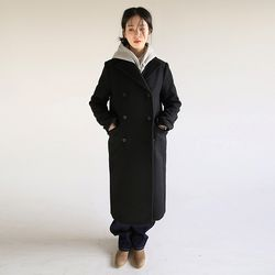 tailored double long coat (black)