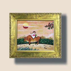 고향풍경 유화그림 복들어오는그림 풍수지리 그림액자