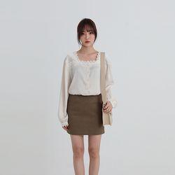 lace square neck blouse (2colors)
